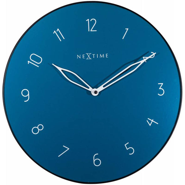NeXtime 40cm Carousel Glass & Metal Round Wall Clock - Blue