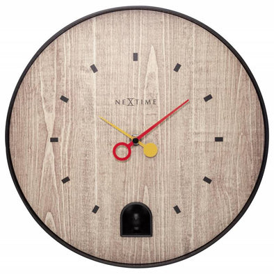 NeXtime 30cm Nightingale Black ABS Round Wall Clock - Black