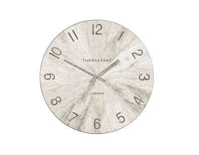 Thomas Kent 56cm Wharf Pickled Oak Open Face Round Wall Clock - White