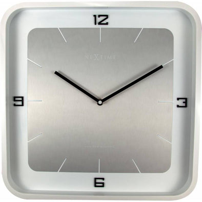 NeXtime 40cm Square Wall Wood Piano Finish Square Wall Clock - White