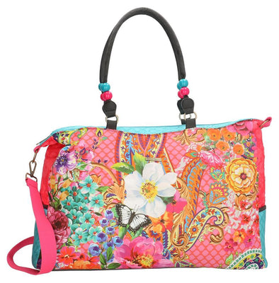 Melli Mello Pink Flower Ladies Raffia Shopper/Beach Bag 17134T