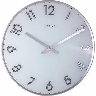 NeXtime 43cm Reflect Glass Round Wall Clock - White 8190WI
