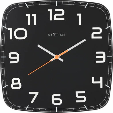 NeXtime 30cm Classy Square Glass & Metal Square Shaped Wall Clock - Black