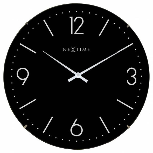 NeXtime 35cm Basic Dome Glass Round Wall Clock - Black 3157