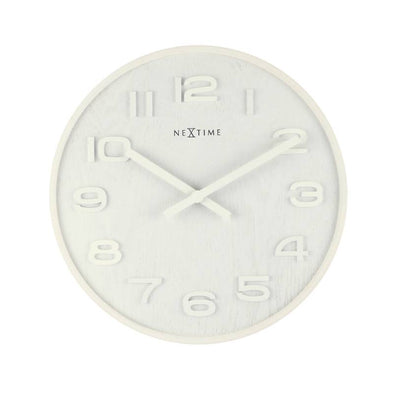 NeXtime 53cm Wood Wood Big Round Wood Wall Clock - White