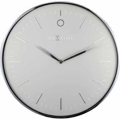 NeXtime 40cm Glamour Dome Shaped Glass & Metal Round Wall Clock - Grey