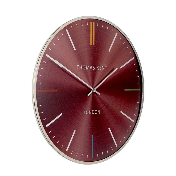 Thomas Kent 40cm Oyster Ruby Metal And Glass Dome Lens Round Wall Clock