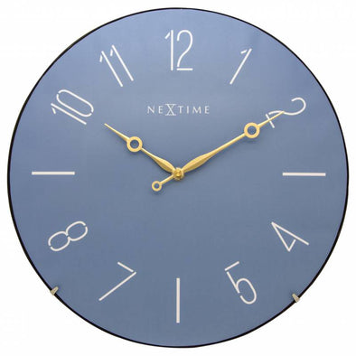 NeXtime 35cm Trendy Dome Glass Round Wall Clock - Blue 3158BL