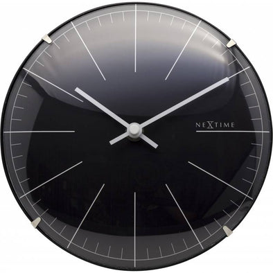 NeXtime 20cm Big Stripe Mini Dome Glass Round Table/Wall Clock - Black