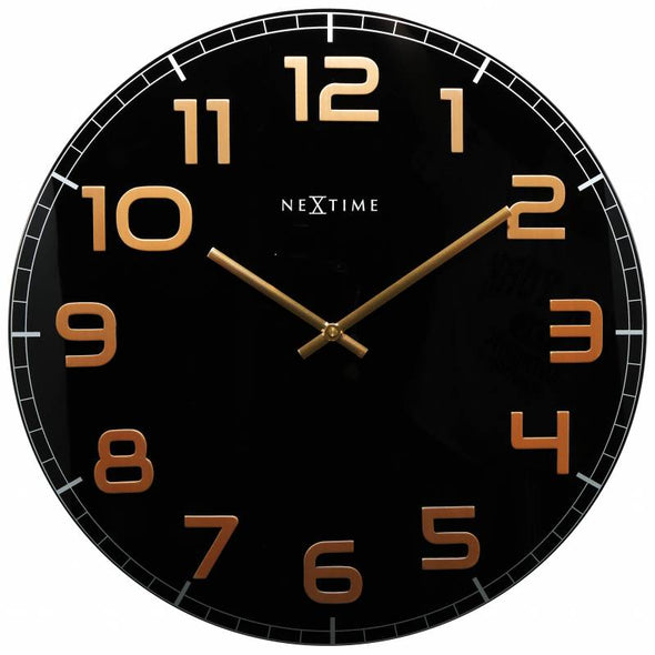 NeXtime 50cm Classy Large Glass Round Wall Clock - Black & Copper