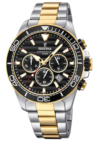 Festina Prestige Stainless Steel Analogue Men's Wrist Watch - Gold-Silver