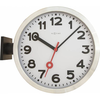 NeXtime 36cm Station Double Aluminium & Glass Round Wall Clock - White