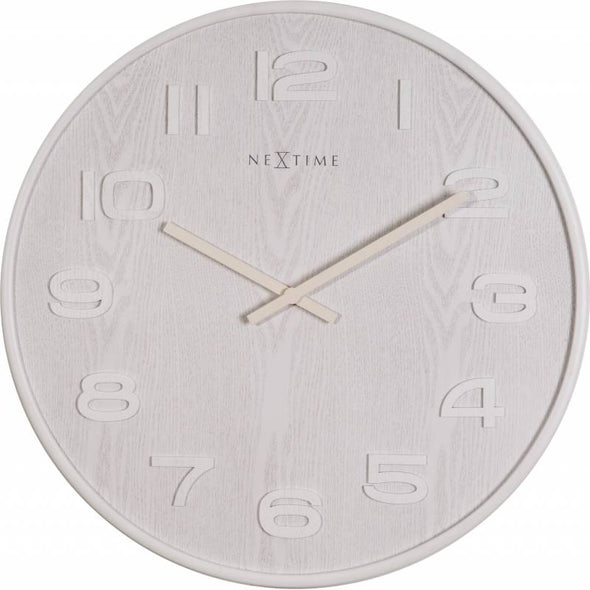 NeXtime 35cm Wood Wood Big Round Wood Wall Clock - White