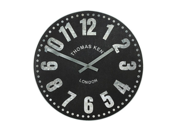 Thomas Kent 76cm Wharf Open Face Round Wall Clock - Black