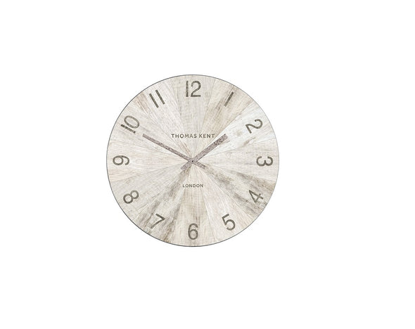 Thomas Kent 17.5cm Wharf Pickled Oak Open Face Round Wall Clock - White