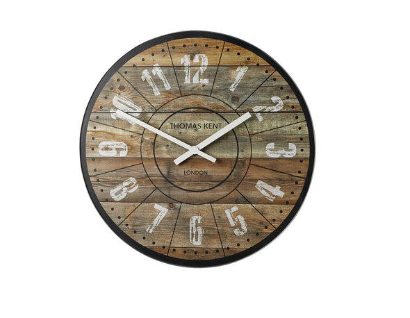 Thomas Kent 56cm Wharf Cotton Mill Mantel Round Wall Clock - Brown