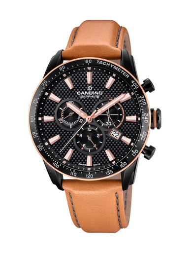 Candino Sapphire Swiss Made Mens Leather Watch - Gents Sport Chrono