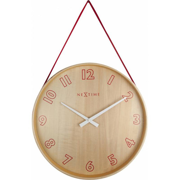 NeXtime 26cm Loop Small Wood & Fabric Round Wall Clock - Red