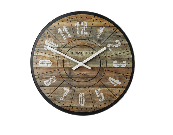 Thomas Kent 76cm Wharf Cotton Mill Mantel Round Wall Clock - Brown
