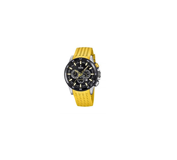 Festina Chrono Bike Analogue Men's Wrist Watch with Rubber Strap - Yellow