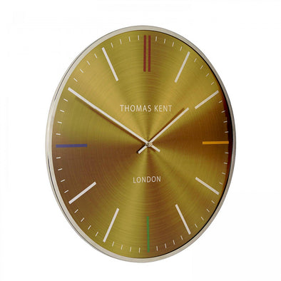 Thomas Kent 40cm Oyster Amber Metal And Glass Dome Lens Round Wall Clock