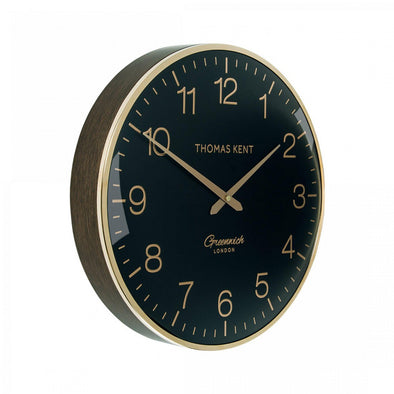 Thomas Kent 40cm Greenwich Evening Gold Round Wall Clock - Black