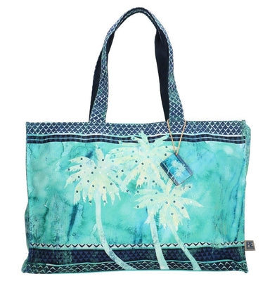PE-Florence Blue Palm Ladies Shopper Bag