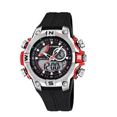 Calypso Digital & Analog Mens Week Indicator Watch - Red & Black