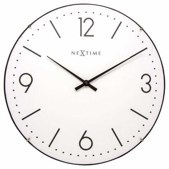 NeXtime 35cm Basic Dome Glass Round Wall Clock - White 3157