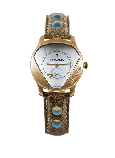 TSIKOLIA SEVEN Limited Edition Swiss Made Ladies Leather Watch - Gold