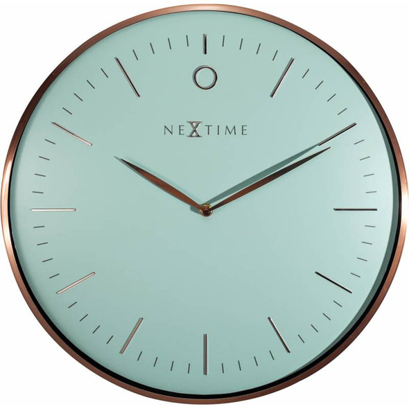 NeXtime 40cm Glamour Dome Shaped Glass & Metal Round Wall Clock - Turquoise