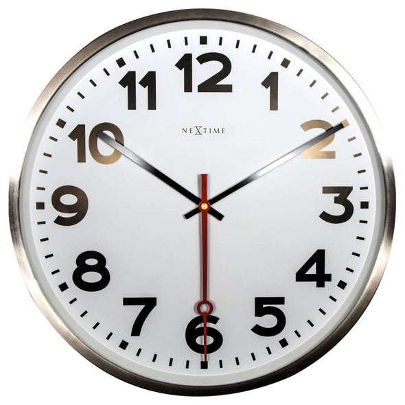 NeXtime 55cm Super Station Stainless Steel Round Wall Clock - White