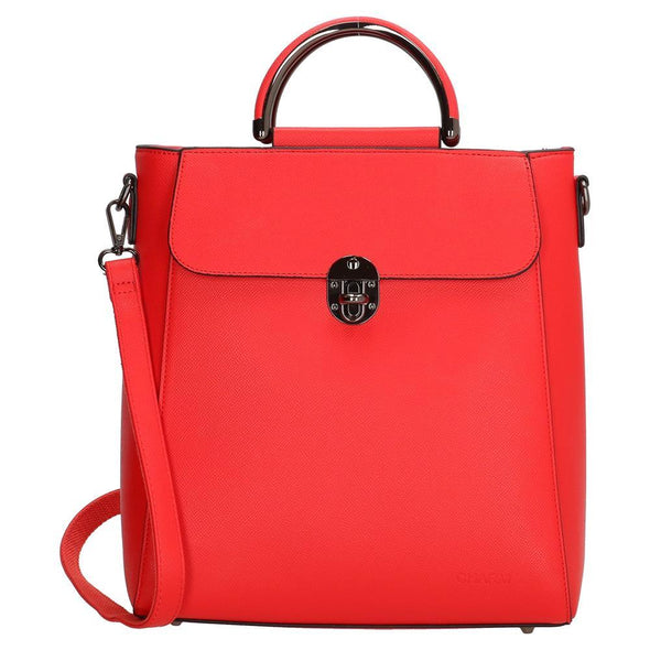 Charm London Canary Wharf Ladies PU Fashion Backpack - Red