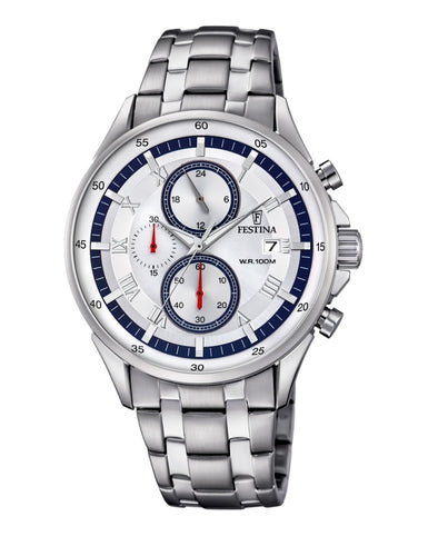 Festina Timeless Chronograph Analogue Men's Wrist Watch - Stainless Steel