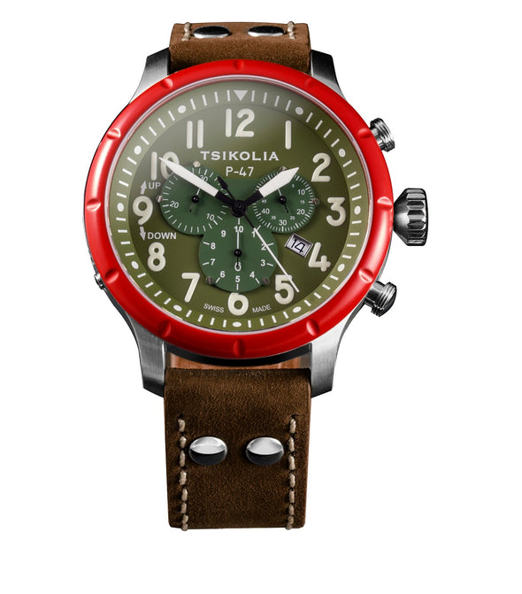 TSIKOLIA P47 Limited Edition Swiss Made Men's Leather Watch - Red Bezel