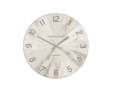 Thomas Kent 38cm Wharf Pickled Oak Open Face Round Wall Clock - White