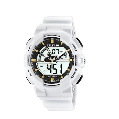 Calypso Mens Digital & Analog Spots Watch - Black & White