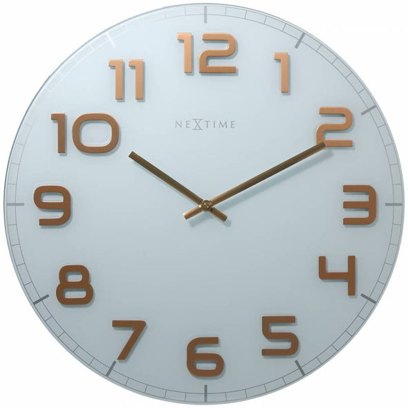 NeXtime 50cm Classy Large Glass Round Wall Clock - White & Copper