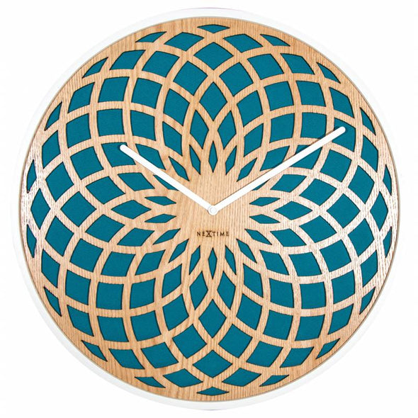 NeXtime 50cm Sun Big Wood & Fabric Round Wall Clock - Turquoise