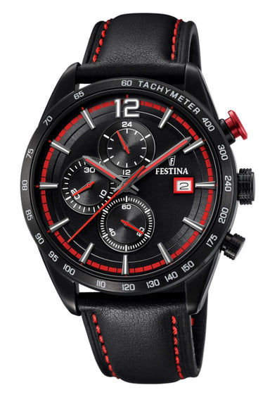 Festina Chrono Sport Analogue Men's Wrist Watch with Leather Strap - Black