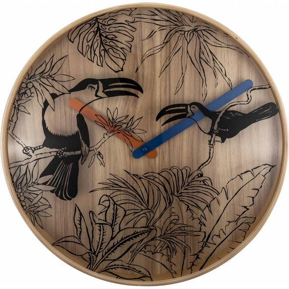 NeXtime 40cm Tropical Birds Wood Round Wall Clock - Various Colours