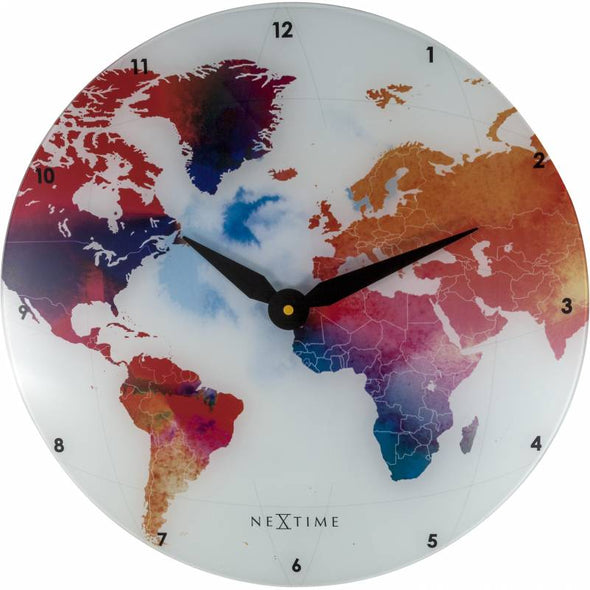 NeXtime 43cm Colourful World Glass Round Wall Clock - Various Colours