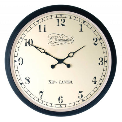NeXtime 35 cm 'Aaltje' Metal & Glass Round Wall Clock - Black