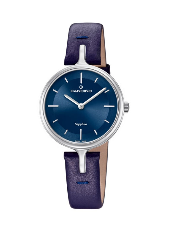 Candino Sapphire Swiss Made Ladies Leather Watch - Blue Lady Elegance