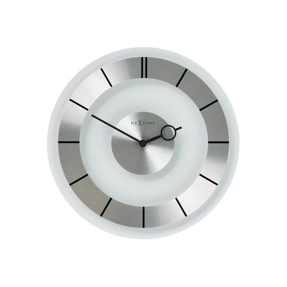 NeXtime 31 cm Retro Metal & Glass Round Wall Clock -Transparent