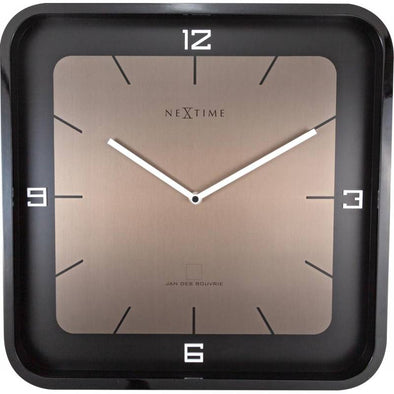 NeXtime 40cm Square Wall Wood Piano Finish Square Wall Clock - Black