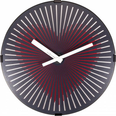 NeXtime 30cm Motion Heart Red Motion Plastic Round Wall Clock - Black
