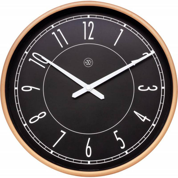 NeXtime 30cm Jason Plastic Round Wall Clock - Black & Matt Rose