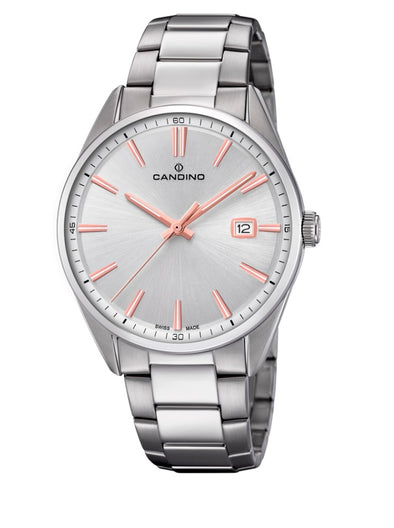 Candino Swiss Made Mens Stainless Steel Watch - Classic Timeless Collection