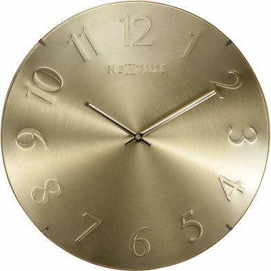 NeXtime 35cm Elegant Dome Shaped Glass Round Wall Clock - Gold